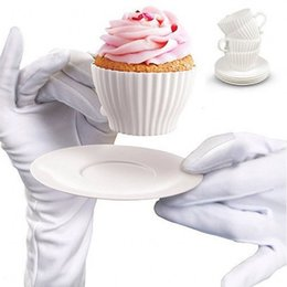 Wholesale Pudding Cakes - White Cup and Saucers Set Silicone Cupcake Molds Baking Cakes Muffin Mould Pudding Cup 40 sets lot Free Shipping
