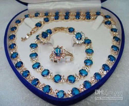Colar de pulseira de safira azul on-line-Pedra Azul Safira 18KT Amarelo Conjunto de Cristal Colar Pulseira Brincos Anel Conjunto de Jóias