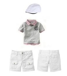 Wholesale Chinese Sale Suits - 2016 Hot Sale Baby Boy Clothing Set Summer Kids Clothes Boys Hat+T-shirt+Short Pant Children Clothing Suit