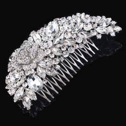 Wholesale Guaranteed Best Quality - 5 Inch Huge 100% Top Quality Guarantee! Clear Crystal Diamante Big Hair Comb Best Gift Hair Jewelry For Women H008