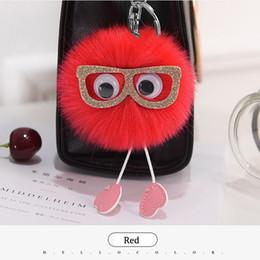 Wholesale Cover Girl Eye - Newest Fur Pom Pom Keychain Big Eyes Key Chain Pompom Fur Key Holder Cover Women Bag Charm Pendant Accessorie Chaveiro Christmas Gift