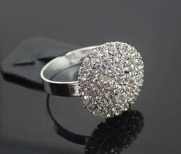 Wholesale Serviette Holders - 100pcs Silver Full Rhinestone Crystal Head Napkin Rings Serviette Holder For Wedding Party Banquet Adornment