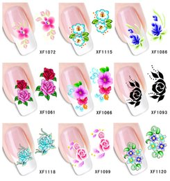 Wholesale Temporary Water Tattoos - Wholesale-120Sheets XF1061-XF1120 Nail Art Flower Water Tranfer Sticker Nails Beauty Wraps Foil Polish Decals Temporary Tattoos Watermark