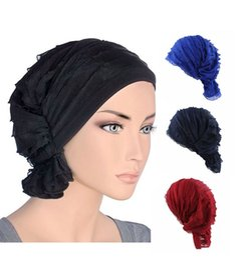 Wholesale Pure Silk Chiffon - Popular Chiffon Turban Hats Spring And Autumn Folds Beanies Pure Color Warp Knitting Cap For Women Girls 6 62jd B