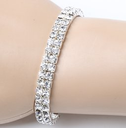 Wholesale 2017 Clear Spring Silver Plated Rows Crystal Rhinestone Bracelets Tennis Hot sell Items Fashion Jewelry