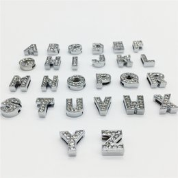 Wholesale 8mm Charms - Wholesale 52PCS Lot 8MM Full Rhinestones Slide Letters A-Z Alphabet DIY Slide Charms Fit 8MM Wristbands Bracelets Belts Collars SL01