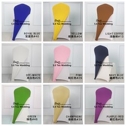 Wholesale Bulk Caps - 50pcs Bulk Salle Price Lycra Chair Cap \ Hood Used For Banquet Wedding Spandex Chair Cover Decoration Free Shipping