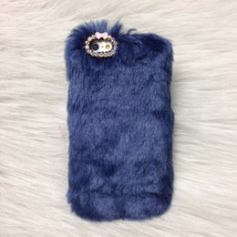Wholesale Rabbit Iphone 4s - Newest Rex Rabbit Hair Diamond Cases Cover Plush Fur Protective Shell for Iphone 4S 5S 6 6s Plus 6plus Sumsang Note 2 3 4 S4 S5 S6 Christmas