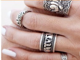 Wholesale Unique Pearl Jewelry - 1 set 4 pcs Gypsy retro Boho carved pattens finger ring elephant antique silver plated unique design 1pc each design 4 styles hand jewelry