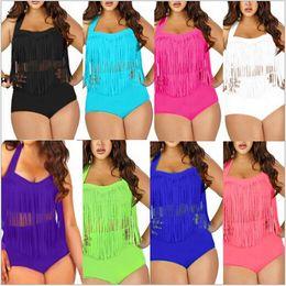 Wholesale Push Up Fringe Bikini - PLUS SIZE Big and Beautiful Womens Retro Fringe Tassel Top High Waisted Bikini Push Up Bandeau Rockabilly Swimwear Swimsuit(China (Mainland