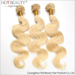 Wholesale Hot New Extension - New Arrival European Russian Vrgin Hair Body Wave 3pcs lot,blonde color 613# Human Hair Weave Extensions hot beauty hair product