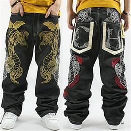 Wholesale Trousers Men Rap - 2018 Hot fashion NY Skateboard embroidery Dragon jeans COOL Graffiti long Loose Relaxed Casual Pants Rap boy B BOY Trousers Size 34~42
