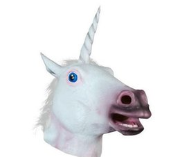Wholesale Deluxe Halloween Masks - Magical Unicorn White Horse Latex Mask Halloween Deluxe Animal COSPLAY Costume Masks Theater Prop Novelty Party Dress Up free shipping