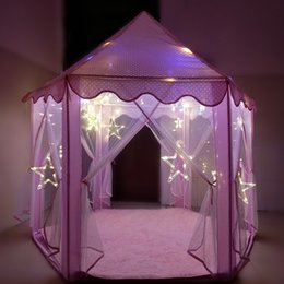 Wholesale Play Tent House - Folding Tipi Children Tent Play House Teepee Portable Toy Tents for Kids Baby Girl Boy Outdoor Indoor Playhouse Princess Castle