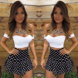 Wholesale New Fashion Sexy Ladies Clothing - 2016 fashion new arrival women clothing ladies Sexy Strapless Short Sleeve Off Shoulder Crop Tops and Polka Dot Skirt Contrast Colors Two Pi