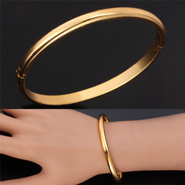 Wholesale Crafts Anniversary - New Excellent Craft Mirror Polish 18K Gold Plated Cuff Bracelets Bangles Fashion Jewelry Vogue Gift For Women MGC H5121
