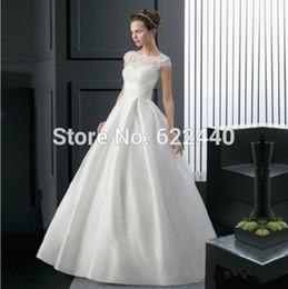 Wholesale Dress Instock - 2016 Charming Lace Cap Sleeve Soft Satin A-Line Floor-Floor Wedding Dress Wedding Gowns Instock Wedding Dress