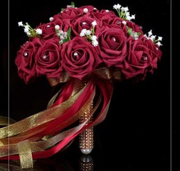 Искусственные свадебные цветы кристалл онлайн-7 цветов 2016 мода PE Кристалл искусственные невесты руки Холдинг Роза цветок свадьба свадебный букет Буке де noiva