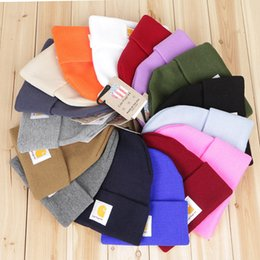 Wholesale Knit Beanie Hats For Women - 16 colors Fashion Unisex Spring Winter Carhartt Hats for Men women Knitted Wool Thicken Warm Beanie Sports winter Caps