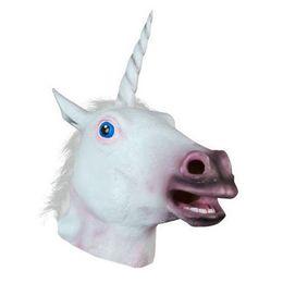 Wholesale Horse Fancy Dress - Wholesale-Free Shipping 1Pcs Lot Halloween Creepy Adult Unicorn Head Latex Rubber Mask Fancy Dress Horse Masks1501