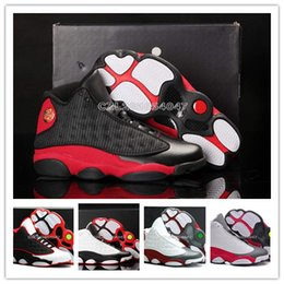 Wholesale Mens Discount Leather - New Mens Basketball Shoes Retro XIII 13 Bred Black True Red Discount Sports Shoe Athletic Running shoe Best price Sneakers Retro Shoes