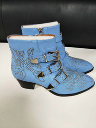 Wholesale Blue Ankle Booties - Women Rivets Booties Buckle Straps Thick Heel Black Red Ankle Boots Studded Pointed Toe Motorcycle woman Boots Velvet Female Martin Boots