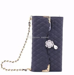 Wholesale S3 Diamond Flip Cover - Flip Wallet Leather Pouch Cases for Samsung Galaxy S3 S4 S5 Note2 3 4 Cover with Deluxe Diamond Flower Girls' Handbag with Card Slots