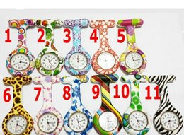 Wholesale Nurses Band - Silicone Nurse Pocket Watch Candy Colors Zebra Leopard Prints Soft band brooch FOB Nurse Watch