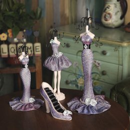 Wholesale Dress Jewelry Stands - Charm Elegant High-heel Dress Lady Mannequin Jewelry Organizer Display Stand Hanging