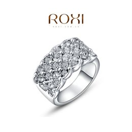 Wholesale Silver Couple Rings Sale - FG ROXI Brand Valentine's Day Gift Lord Of The Rings Engagement Crystal Ring Wedding Rings Silver Color Jewelry On Sale 2010016315b