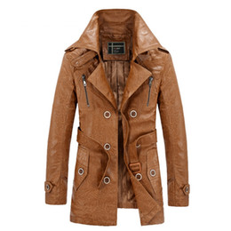 Wholesale Double Breasted Leather Belt - Wholesale free shipping long pu leather fleece jacket men winter thick warm up bouble breasted belt slim coat
