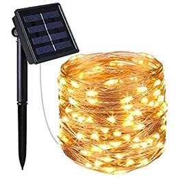 Cable de alimentación plano online-Luces solares de cadena, 100 luces de alambre de cobre LED, luces de cadena estrelladas, luces solares impermeables para interiores / exteriores