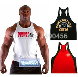 Wholesale Top Sexy Wear Men - Wholesale-Fitness Gorilla wear cotton gym clothing men workout sleeveless t shirt men high quality sexy world of tanks men tank tops
