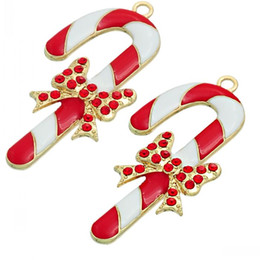 Wholesale Red White Candy Canes - Dorabeads Charm Pendants Christmas Candy Cane Gold Plated Bowknot Pattern Red Rhinestone Enamel Red & White 6.1cmx 3.1cm,5 PC