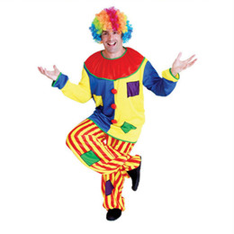 Wholesale Clown Music - Halloween Christmas Adult Man Clown Costume Funny Dress Adults Clown Cosplay Jumpsuits New Year Performance Wear