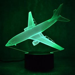 Wholesale fairy birthday cards - Air Plane 3D Night Light USB 7 Color Aircraft Table Lamp Bedroom Night Lamp Birthday Holiday gift