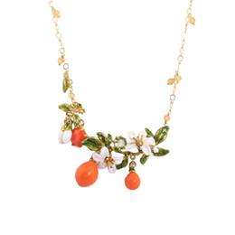 Wholesale Les Nereides - Les Nereides Enamel Necklaces Romantic Beautiful Orange Leaves Flowers Crystal Chain For Women Lady Party Jewelry