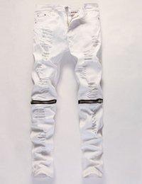 Wholesale Mens Biker Clothing - Wholesale-represent clothing designer pants destroyed mens slim denim straight biker skinny jeans men ripped jeans 28-38