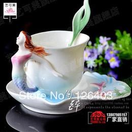Wholesale Chinese Porcelain Tea Cups Wholesale - Wholesale-Bone Chinese Porcelain Tea Sets Enamel Mermaid Coffee Cup Ceramic Cup European Style Mugs Milk Cup Teapot Tea Service Top Grade