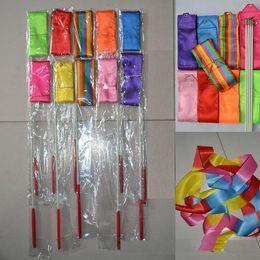 Wholesale Dance Rod - Wholesale 4M Dance Ribbon Gym Rhythmic Art Gymnastic Ballet Streamer Twirling Rod