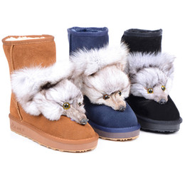Wholesale Summer Knitted High Heel Boots - Free shipping womens classic snow boots Australia girl summer solstice knitting plush boots button boots womens boots caddice glitter2009