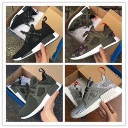 Wholesale Women Shoes Skull - 2017 NMD XR1 Running Shoes Mastermind Japan Skull Fall Olive green Camo Glitch Black White Blue zebra Pack men women sports shoes 36-45