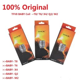 Wholesale Smok Coils - 100% Authentic SMOK TFV8 BABY Coils V8 BABY T8 0.15ohm T6 0.15ohm X4 0.15ohm Q2 0.4ohm Original DHLfree