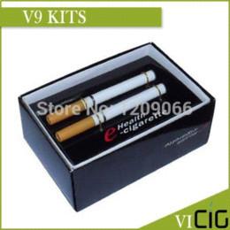 Wholesale Electronic Cigarettes Double V9 - (10pcs)New arrive 9.2mm dimension V9 electronic cigarette double stem disposable health e cigarettes with real tobacco flavor
