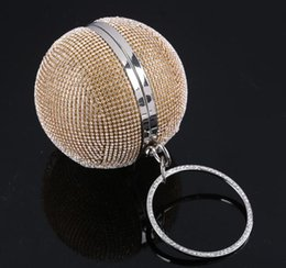 Wholesale Thanksgiving Beaded Bags - New Fashion Ladies Hand Bag Ball Mini Crystal Rhinestone Party Ring Clutch Evening Bag Hand Beads Bags Shoulder Beaded Bag Purse Makeup