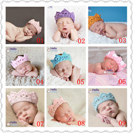 Wholesale Crochet Prince - Newborn Baby Girl Boy Crochet Knit Prince Crown Headband Hat Hair Accessories