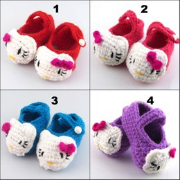 Wholesale Knitted Baby Shoe Flower - Many styles Baby Girls Flower Crochet Shoes Handmade Cotton Thread Baby Toddler Shoes Knitting Infant Shoes