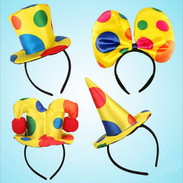 Wholesale Clown Music - Novelty Clown Hat Headband For Kids Adults Circus Clown Headwear Dance Party Cosplay Costume Accessories New Year