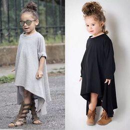 Wholesale Degree Dresses - Baby girl cotton INS 360 degree rotating irregular hem maxi dress long sleeve swirling asymmetrical hem princess dresses