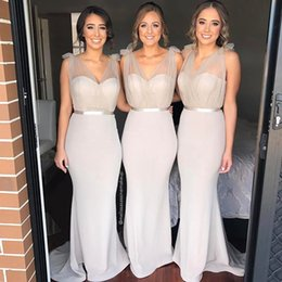 Wholesale Stretch Bridesmaid Dresses - 2018 Elegant vestidos festa Sheer V Neck Country Bridesmaid Dresses Stretch Satin Sweep Train Mermaid Wedding Party Gowns Free Shipping
